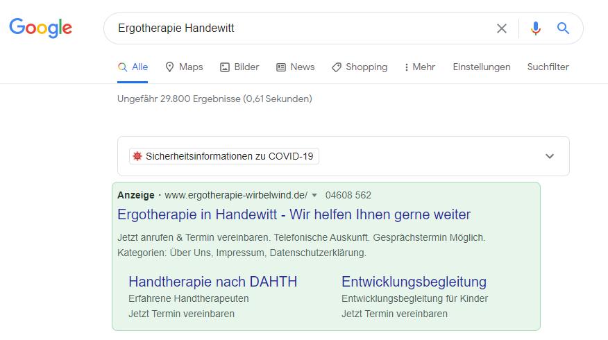 Anzeigen bei Google durch weitere Informationen ergänzt.